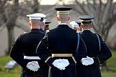 The Armed Forces Honor Guard prepares for the arrival of President Gerald R. Ford's body in front of the Gerald R. Ford Presidential Library and Museum January 2 in Grand Rapids, Michigan.