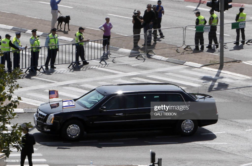 The armoured Cadillac limousine of US President Barack Obama drives through Jerusalem upon his arrival on March 20, 2013 on the first leg of a Mideast tour that will take him to Israel, Jordan and at the Palestinian territories. Obama landed in Israel for the first time as US president, on a mission to ease past tensions with his hosts and hoping to paper over differences on handling Iran's nuclear threat.