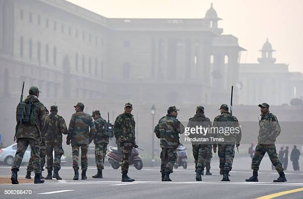 The Army secures the Rashtrapati Bhavan area after rehearsals of the Beating Retreat at Raisina Hill ahead of Republic Day celebrations on January 22...