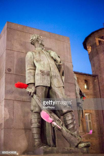 The army's monument was dressed with multicolor duster during a rally as part of a nationwide 'Lotto Marzo' protest on the International Women's Day...