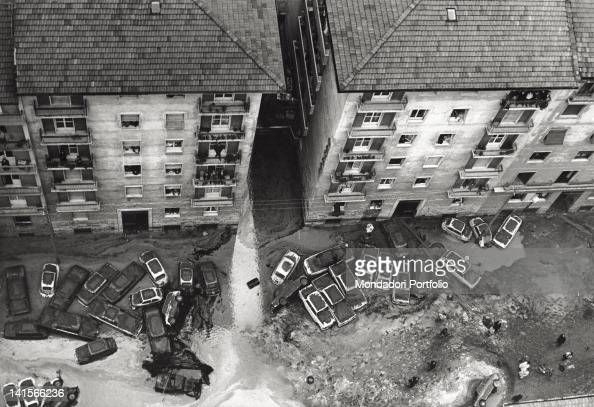 The Arno River has overflowed carrying away many cars Florence November 1966