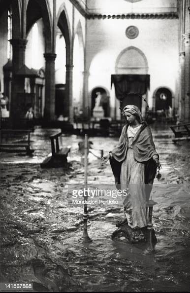 The Arno River has overflowed flooding a church Florence November 1966