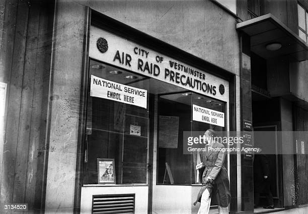 The ARP headquarters in Charing Cross Road London Signs in the window invite passersby to enrol for national service