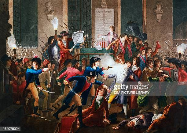 The arrest of Maximilien Robespierre during the night between the 9th and 10th of Thermidor July 28 English engraving French Revolution France 18th...