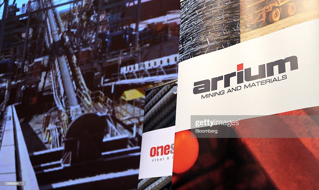 The Arrium Ltd. logo is displayed on a banner at the company's annual general meeting in Melbourne, Australia, on Monday, Nov. 19, 2012. Arrium, which rebuffed a A$1.2 billion ($1.24 billion) takeover offer from a Noble Group Ltd. and Posco-led consortium last month, said Geoff Plummer will step down as chief executive officer by the end of next year. Photographer: Carla Gottgens/Bloomberg via Getty Images