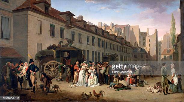 'The Arrival of a Stagecoach at the Terminus rue NotreDamedesVictoires Paris 1803' 17611845 Found in the collection of the Louvre Paris France
