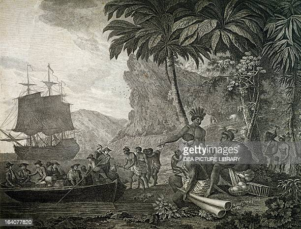 The arrival of Europeans in Africa engraving by Nicolas Colibert based on a drawing by Amedee Freret 1795 Africa 18th century Paris Musée National...