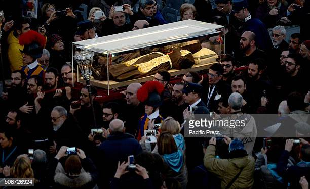 The arrival of Padre Pio's remains at the Vatican after crossing the historic center of Rome The relics will remain on display in St Peter until...
