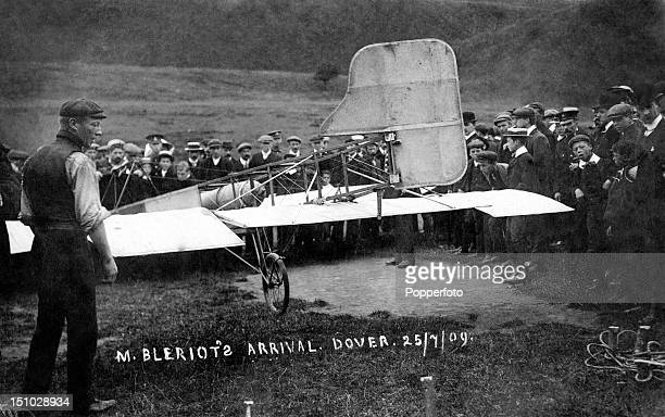 The arrival of the French aviator Louis Bleriot at Dover on 25th July 1909