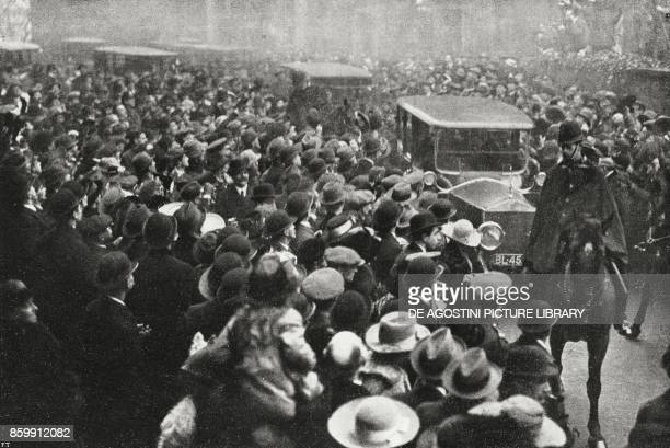 The arrival of Vittorio Emanuele Orlando Sidney Sonnino Georges Clemenceau and Ferdinand Foch at Downing Street London Congress UK World War I from...