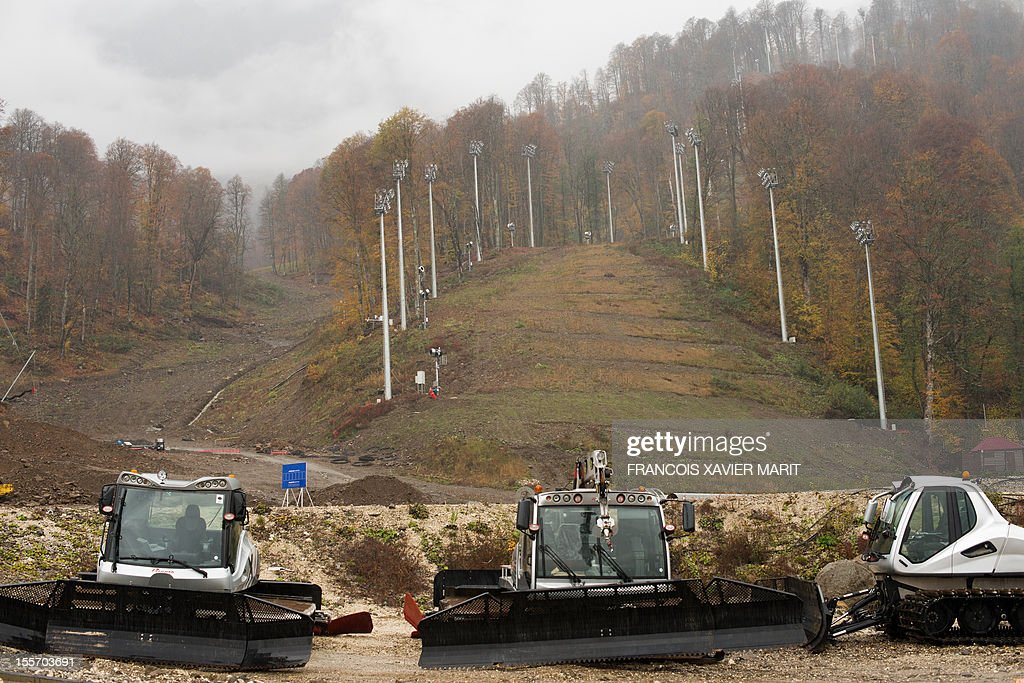 The arrival zone of the Rosa Khutor Alpine centre, which will host the downhill, Super G, giant slalom and the slalom events at the upcoming 2014 winter olympics in Rosa Khutor, part of the mountain cluster of installations some 50km from Sochi. MARIT