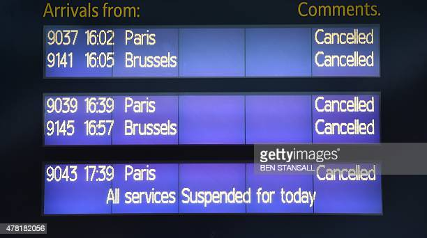 The arrivals board shows all services cancelled at the Eurostar terminal at St Pancras station in London on June 23 2015 because of disruption on the...