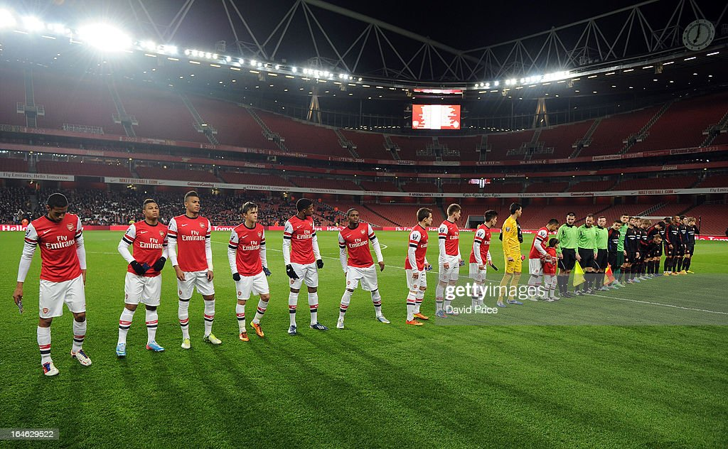 The Arsenal and CSKA teams line up before the NextGen Series Quarter Final match between Arsenal and PFC CSKA at Emirates Stadium on March 25, 2013 in London, England.