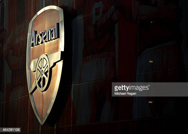 The Arsenal badge is seen on the side of the stadium ahead of the Barclays Premier League match between Arsenal and Everton at Emirates Stadium on...