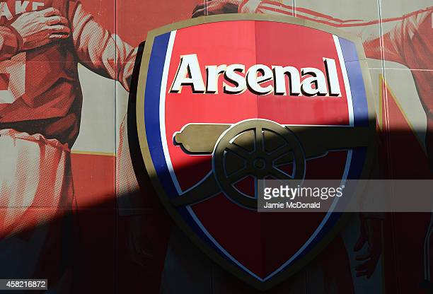 The Arsenal badge is seen prior to the Barclays Premier League match between Arsenal and Burnley at Emirates Stadium on November 1 2014 in London...