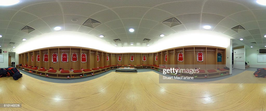 The Arsenal changing room before the Barclays Premier League match between Arsenal and Leicester City at Emirates Stadium on February 14, 2016 in London, England.