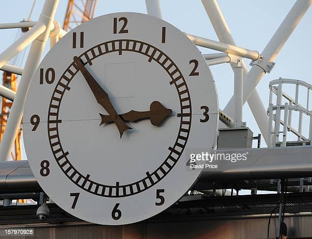 The Arsenal clock shows 6 minutes to kick off ahead of the Barclays Premier League match between Arsenal and West Bromwich Albion at Emirates Stadium...