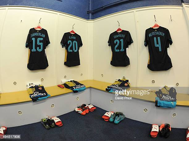 The Arsenal kit hangs in the changingroom before the Capital One Cup 4th Round match between Sheffield Wednesday and Arsenal at Hillsborough Stadium...