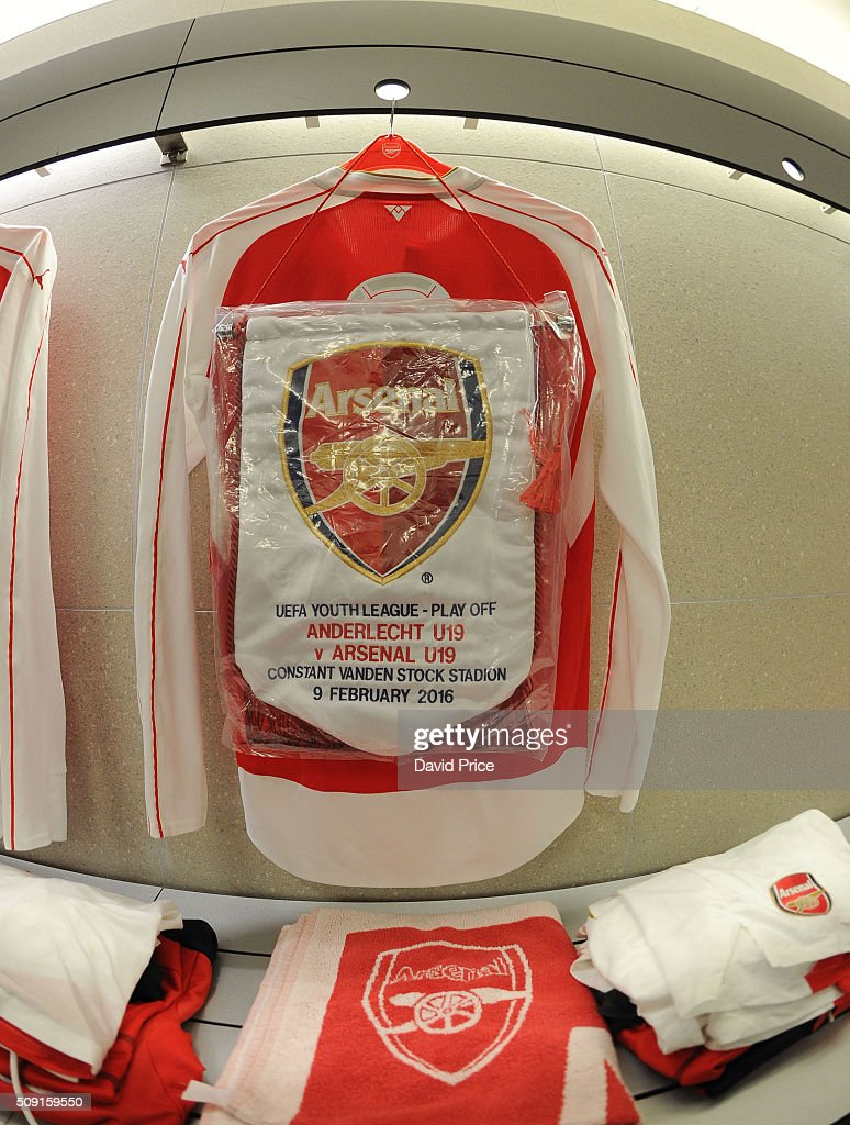 The Arsenal kit is laid out in the changingroom before the match between Anderlecht and Arsenal at Constant Vanden Stock Stadium on February 9, 2016 in Brussels, Bruxelles-Capitale, Region de.