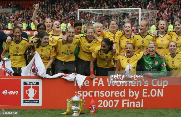 The Arsenal ladies celebrate as they lift the trophy during the FA Womens Cup final sponsored by EON match between Arsenal and Charlton Athletic at...