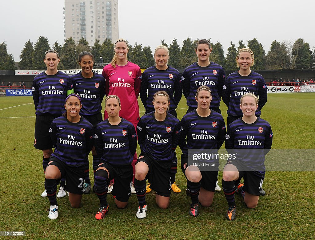 The Arsenal Ladies FC starting line-up pose for a photograph before the Women's Champions League Quarter Final match between Arsenal Ladies FC and ASD Torres CF at Meadow Park on March 20, 2013 in Borehamwood, United Kingdom.