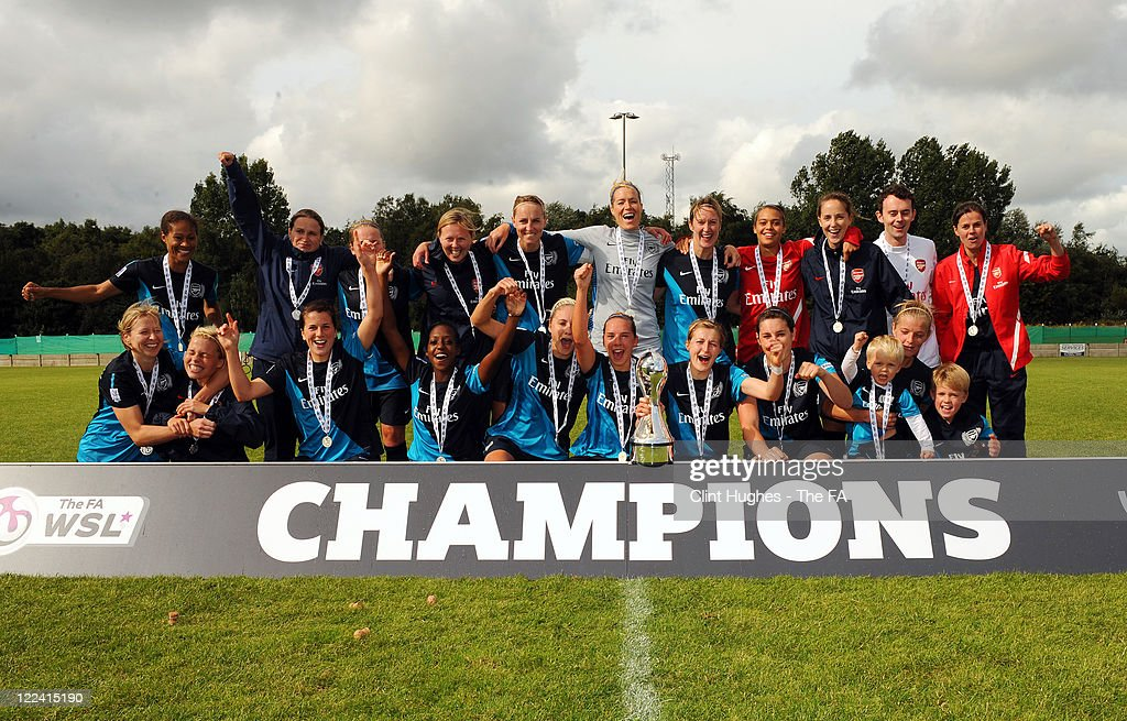 The Arsenal Ladies team celebrate after they win the WSL trophy during the FA WSL match between Liverpool Ladies FC and Arsenal Ladies FC at the...