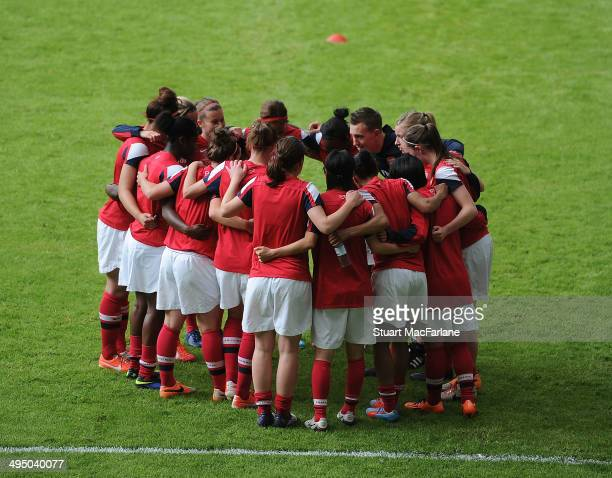 The Arsenal Ladies team during their warm up before the match at Stadium mk on June 1 2014 in Milton Keynes England