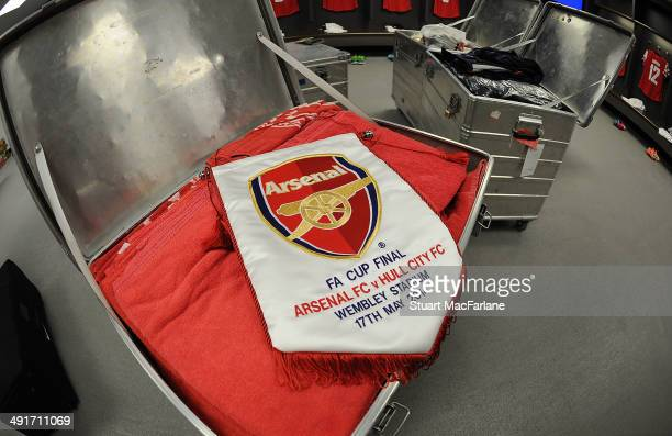 The Arsenal match pennant in the changing room before the FA Cup Final between Arsenal and Hull City at Wembley Stadium on May 17 2014 in London...