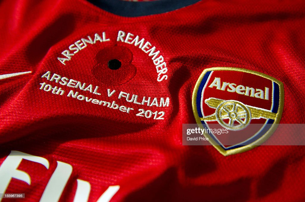 The Arsenal match shirt displays a poppy to mark Remembrance Sunday, before the Barclays Premier League match between Arsenal and Fulham, at Emirates Stadium on November 10, 2012 in London, England.