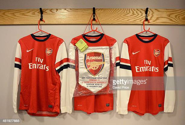 The Arsenal pennant hangs in the changing room before the match between Arsenal U19s and Olympic Marseille U19s in the UEFA Youth League on November...