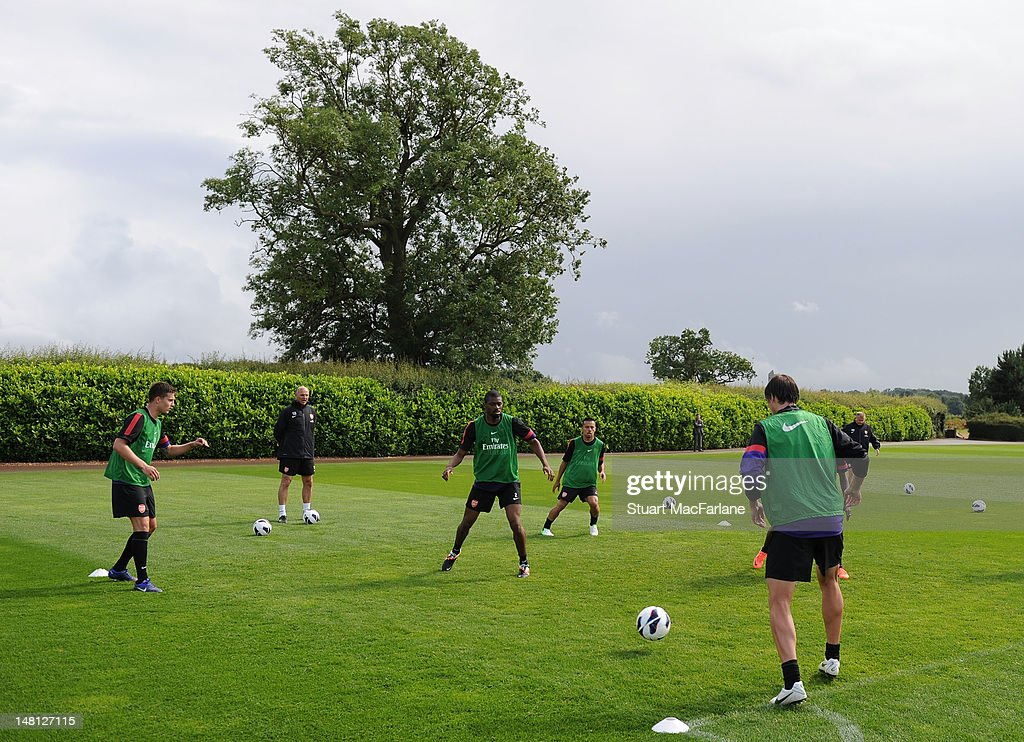 The Arsenal squad during a training session at London Colney on July 10, 2012 in St Albans, England.