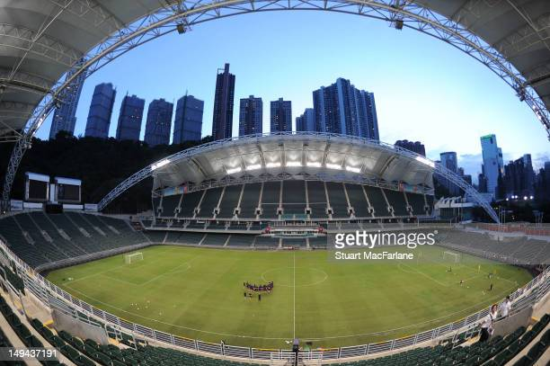 The Arsenal squad train at the Hong Kong Stadium during the club's preseason Asian tour on July 28 2012 in Hong Kong