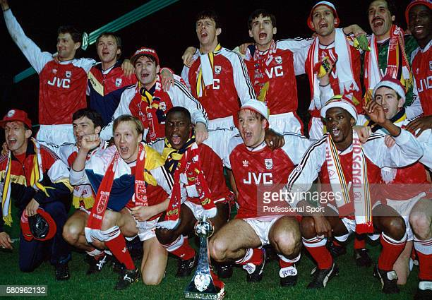 The Arsenal team celebrate after their victory in the Barclays League Division One match against Manchester United played at Highbury in London...