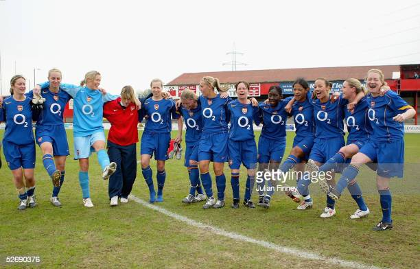 The Arsenal team celebrate after winning 10 and winning the league after the FA Nationwide Women's Premier League match between Charlton Women and...