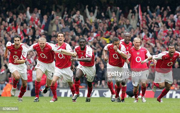 The Arsenal team celebrate after winning the shootout during the FA Cup Final match between Arsenal and Manchester United at the Millennium Stadium...