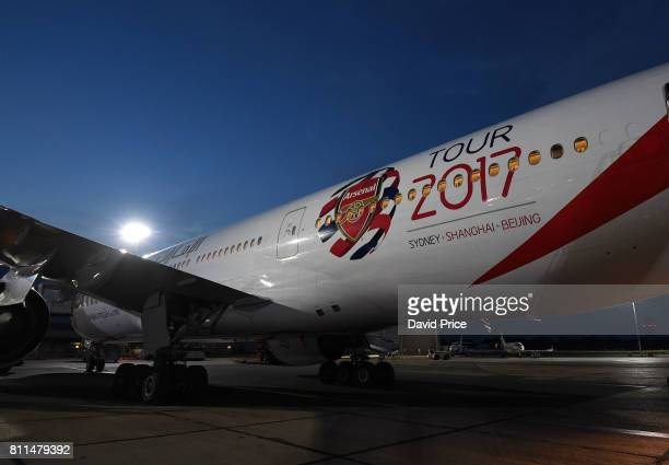 The Arsenal team Emirates plane at Stansted Airport on July 9 2017 in London England