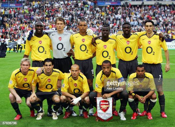 The Arsenal team line up before the UEFA Champions League Final between Arsenal and Barcelona at the Stade de France on May 17 2006 in Paris France