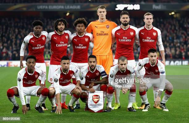 The Arsenal team line up prior to the UEFA Europa League group H match between Arsenal FC and Crvena Zvezda at Emirates Stadium on November 2 2017 in...