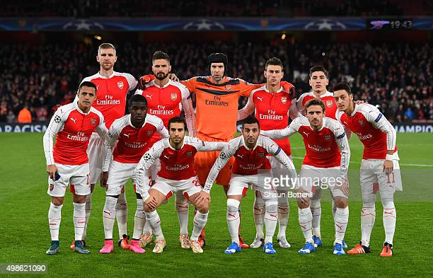 The Arsenal team pose for a photo prior to the UEFA Champions League match between Arsenal FC and GNK Dinamo Zagreb at Emirates Stadium on November...