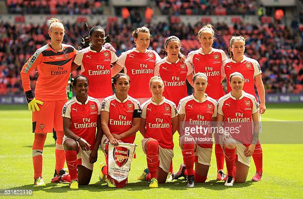 The Arsenal team pose for a picture ahead of the SSE Women's FA Cup Final between Arsenal Ladies and Chelsea Ladies at Wembley Stadium on May 14 2016...