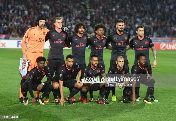 The Arsenal tram line up before the UEFA Europa League group H match between Crvena Zvezda and Arsenal FC at Rajko Mitic Stadium on October 19 2017...