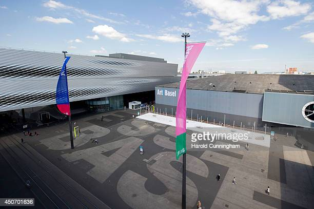 The Art Basel logo is displayed on June 16 2014 in Basel Switzerland Art Basel one of the most prestigious art fairs in the world which runs until...