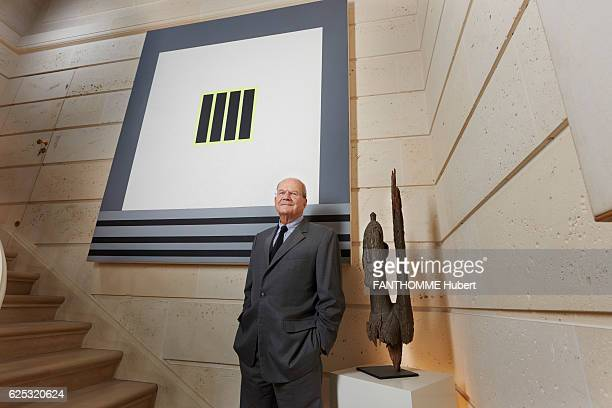 the art collector and sponsor Marc Ladreit de La Charriere poses at his home in front of a painting by Peter Halley and a Dogon Hean in Paris on...