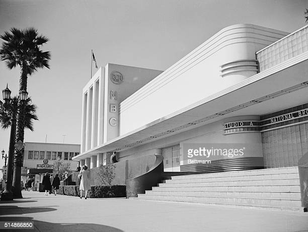 The art deco style National Broadcasting Company recording studios stand on the corner of Sunset Boulevard and Vine