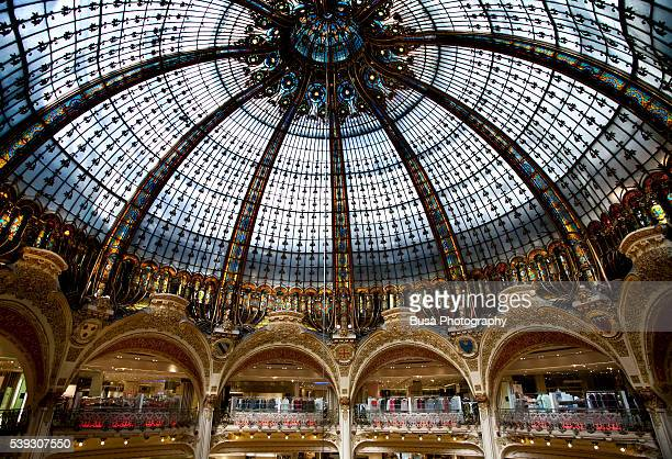The Art Nouveau Dome inside the Galerie Lafayette flagship store in Paris, France