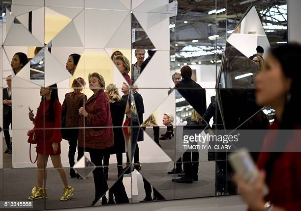 The art of Claudia Wieser during the VIP opening of The Armory Show 2016 in New York March 2 2016 / AFP / Timothy A CLARY / RESTRICTED TO EDITORIAL...