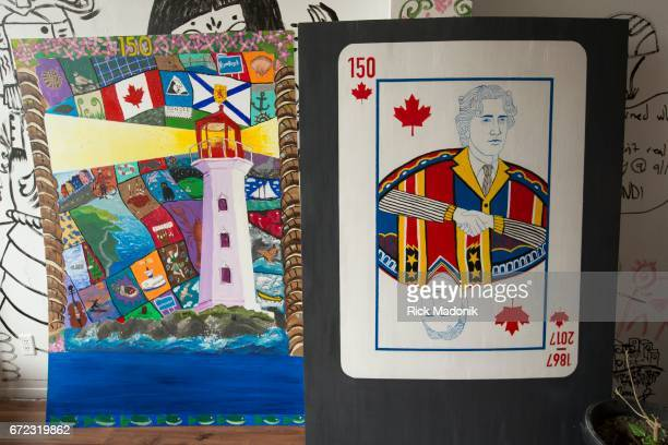 The art on the left was done a group out east called The Spot Halifax and on the left a piece from the Seed Alternative School in Toronto A project...