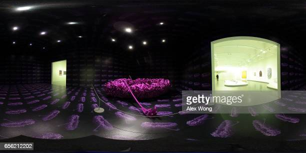 The art piece Violet Obsession by Japanese artist Yayoi Kusama is seen at the Hirshhorn Museum March 21 2017 in Washington DC The Yayoi Kusama...