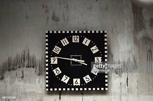 The art school clock stopped at 1545 as specialist removers continue the retrieval of student art work from the Charles Rennie Mackintosh building on...