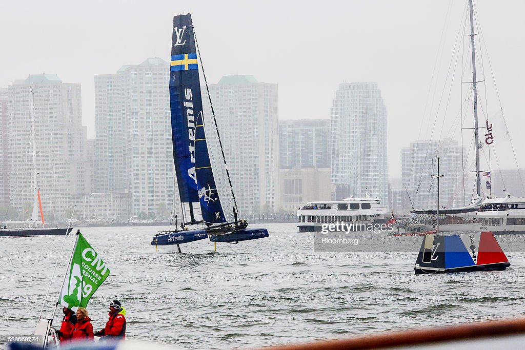 The Artemis Racing catamaran sails during practice ahead of the Louis Vuitton America's Cup World Series races in New York, U.S., on Friday, May 6, 2016. The America's Cup sailing races are held in New York City on the Hudson River for the first time since 1920. Photographer: Chris Goodney/Bloomberg via Getty Images